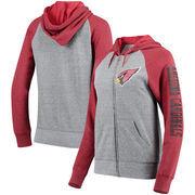 Arizona Cardinals 5th & Ocean by New Era Women's Fleece Tri-Blend Raglan Sleeve Full-Zip Hoodie - Heathered Gray/Cardinal