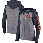 Chicago Bears 5th & Ocean by New Era Women's Fleece Tri-Blend Raglan Sleeve Full-Zip Hoodie - Heathered Gray/Navy