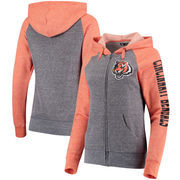 Cincinnati Bengals 5th & Ocean by New Era Women's Fleece Tri-Blend Raglan Sleeve Full-Zip Hoodie - Heathered Gray/Orange