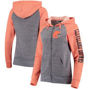 Cleveland Browns 5th & Ocean by New Era Women's Fleece Tri-Blend Raglan Sleeve Full-Zip Hoodie - Heathered Gray/Orange