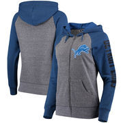 Detroit Lions 5th & Ocean by New Era Women's Fleece Tri-Blend Raglan Sleeve Full-Zip Hoodie - Heathered Gray/Blue