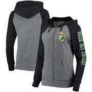 Green Bay Packers 5th & Ocean by New Era Women's Fleece Tri-Blend Raglan Sleeve Full-Zip Hoodie - Heathered Gray/Black
