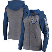 Indianapolis Colts 5th & Ocean by New Era Women's Fleece Tri-Blend Raglan Sleeve Full-Zip Hoodie - Heathered Gray/Royal