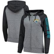 Jacksonville Jaguars 5th & Ocean by New Era Women's Fleece Tri-Blend Raglan Sleeve Full-Zip Hoodie - Heathered Gray/Black