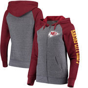 Kansas City Chiefs 5th & Ocean by New Era Women's Fleece Tri-Blend Raglan Sleeve Full-Zip Hoodie - Heathered Gray/Red