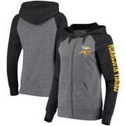 Minnesota Vikings 5th & Ocean by New Era Women's Fleece Tri-Blend Raglan Sleeve Full-Zip Hoodie - Heathered Gray/Black