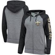 New Orleans Saints 5th & Ocean by New Era Women's Fleece Tri-Blend Raglan Sleeve Full-Zip Hoodie - Heathered Gray/Black