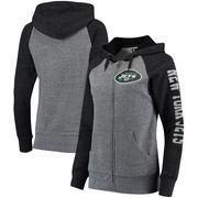 New York Jets 5th & Ocean by New Era Women's Fleece Tri-Blend Raglan Sleeve Full-Zip Hoodie - Heathered Gray/Black
