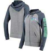 Seattle Seahawks 5th & Ocean by New Era Women's Fleece Tri-Blend Raglan Sleeve Full-Zip Hoodie - Heathered Gray/College Navy