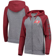Tampa Bay Buccaneers 5th & Ocean by New Era Women's Fleece Tri-Blend Raglan Sleeve Full-Zip Hoodie - Heathered Gray/Red