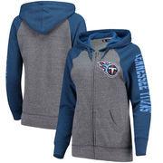 Tennessee Titans 5th & Ocean by New Era Women's Fleece Tri-Blend Raglan Sleeve Full-Zip Hoodie - Heathered Gray/Royal