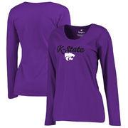 Kansas State Wildcats Fanatics Branded Women's Plus Sizes Freehand Long Sleeve T-Shirt - Purple
