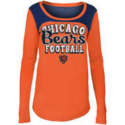 Chicago Bears 5th & Ocean by New Era Girls Youth Glitter Football Long Sleeve T-Shirt – Orange