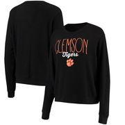 Clemson Tigers Alta Gracia (Fair Trade) Women's Ann Cozy Brushed Hacci Tri-Blend Sweatshirt - Black