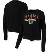 Miami Hurricanes Alta Gracia (Fair Trade) Women's Ann Cozy Brushed Hacci Tri-Blend Sweatshirt - Black