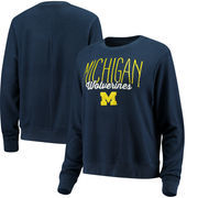 Michigan Wolverines Alta Gracia (Fair Trade) Women's Ann Cozy Brushed Hacci Tri-Blend Sweatshirt - Navy