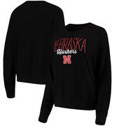 Nebraska Cornhuskers Alta Gracia (Fair Trade) Women's Ann Cozy Brushed Hacci Tri-Blend Sweatshirt - Black