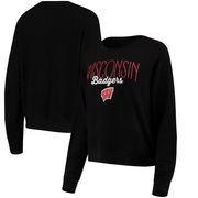 Wisconsin Badgers Alta Gracia (Fair Trade) Women's Ann Cozy Brushed Hacci Tri-Blend Sweatshirt - Black