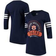 Auburn Tigers Alta Gracia (Fair Trade) Women's Lulu Striped Football 3/4-Sleeve T-Shirt - Navy