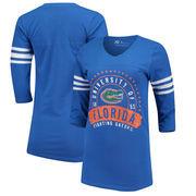 Florida Gators Alta Gracia (Fair Trade) Women's Lulu Striped Football 3/4-Sleeve T-Shirt - Royal