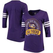 LSU Tigers Alta Gracia (Fair Trade) Women's Lulu Striped Football 3/4-Sleeve T-Shirt - Purple