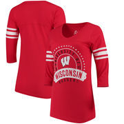 Wisconsin Badgers Alta Gracia (Fair Trade) Women's Lulu Striped Football 3/4-Sleeve T-Shirt - Red