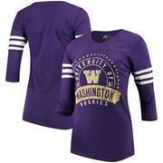 Washington Huskies Alta Gracia (Fair Trade) Women's Lulu Striped Football 3/4-Sleeve T-Shirt - Purple