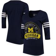Michigan Wolverines Alta Gracia (Fair Trade) Women's Lulu Striped Football 3/4-Sleeve T-Shirt - Navy