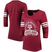 Texas A&M Aggies Alta Gracia (Fair Trade) Women's Lulu Striped Football 3/4-Sleeve T-Shirt - Maroon