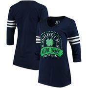 Notre Dame Fighting Irish Alta Gracia (Fair Trade) Women's Lulu Striped Football 3/4-Sleeve T-Shirt - Navy