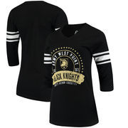 Army Black Knights Alta Gracia (Fair Trade) Women's Lulu Striped Football 3/4-Sleeve T-Shirt - Black