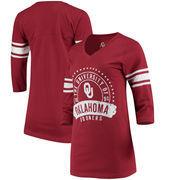 Oklahoma Sooners Alta Gracia (Fair Trade) Women's Lulu Striped Football 3/4-Sleeve T-Shirt - Crimson
