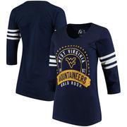 West Virginia Mountaineers Alta Gracia (Fair Trade) Women's Lulu Striped Football 3/4-Sleeve T-Shirt - Navy