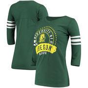 Oregon Ducks Alta Gracia (Fair Trade) Women's Lulu Striped Football 3/4-Sleeve T-Shirt - Green