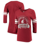 Washington State Cougars Alta Gracia (Fair Trade) Women's Lulu Striped Football 3/4-Sleeve T-Shirt - Crimson