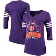 Clemson Tigers Alta Gracia (Fair Trade) Women's Lulu Striped Football 3/4-Sleeve T-Shirt - Purple