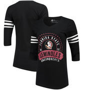Florida State Seminoles Alta Gracia (Fair Trade) Women's Lulu Striped Football 3/4-Sleeve T-Shirt - Black