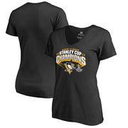 Pittsburgh Penguins Fanatics Branded Women's 2017 Stanley Cup Champions Plus Size Slapshot T-Shirt - Black