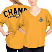 Pittsburgh Penguins Fanatics Branded Women's 2017 Stanley Cup Champions Rink Spirit T-Shirt - Gold