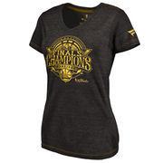 Golden State Warriors Fanatics Branded Women's 2017 NBA Finals Champions Gold Luxe Tri-Blend V-Neck T-Shirt - Black