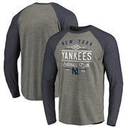 New York Yankees Fanatics Branded Cooperstown Collection Doubleday Tri-Blend Raglan Long Sleeve T-Shirt - Ash