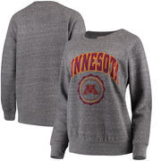 Minnesota Golden Gophers Pressbox Women's Edith Vintage Knobi Pullover Sweatshirt – Heathered Gray