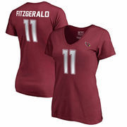 Larry Fitzgerald Arizona Cardinals NFL Pro Line by Fanatics Branded Women's Authentic Foil Stack Name & Number V-Neck T-Shirt -