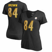Antonio Brown Pittsburgh Steelers NFL Pro Line by Fanatics Branded Women's Authentic Foil Stack Name & Number V-Neck T-Shirt - B