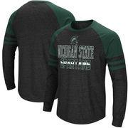 Michigan State Spartans Colosseum Big and Tall Hybrid Raglan Long Sleeve T-Shirt – Heathered Gray/Green