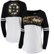 Boston Bruins 5th & Ocean by New Era Women's Baby Jersey Long Sleeve Crew T-Shirt - White/Black