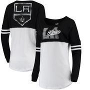Los Angeles Kings 5th & Ocean by New Era Women's Baby Jersey Long Sleeve Crew T-Shirt - White/Black