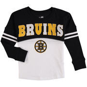 Boston Bruins 5th & Ocean by New Era Girls Youth Baby Jersey Long Sleeve Stripe T-Shirt - White/Black