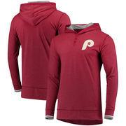 Philadelphia Phillies Mitchell & Ness Seal The Win Long Sleeve Hooded T-Shirt – Maroon