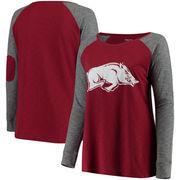 Arkansas Razorbacks Women's Plus Size Preppy Elbow Patch Slub Long Sleeve T-Shirt - Cardinal/Charcoal